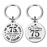 DEGASKEN Happy 75th Birthday Gift Ideas for Men, 75 Never Looked So Good, Vintage 75 Year Old Age Male Funny Keychain