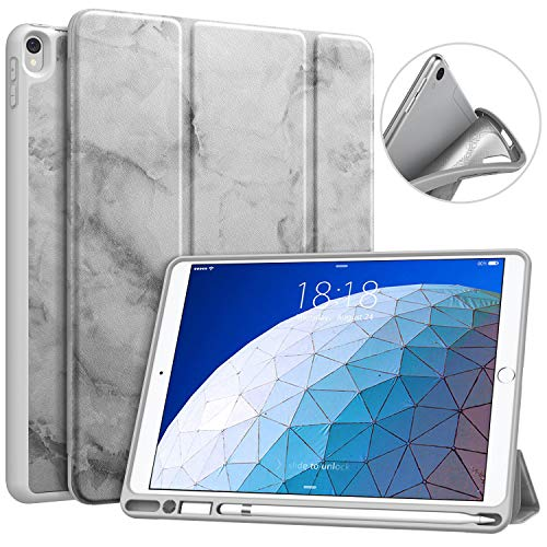 MoKo Case Fit New iPad Air 3 2019(3rd Generation 10.5 inch)/iPad Pro 10.5 2017 with Pencil Holder - MoKo Slim Lightweight Smart Shell Stand Cover Case with Auto Wake/Sleep - Dark Gray Marble