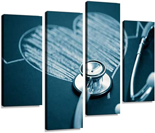 Stethoscope With A Heart Canvas Wall Art Hanging Paintings Modern Artwork Abstract Picture Prints Home Decoration Gift Unique Designed Framed 4 Panel Posters Prints