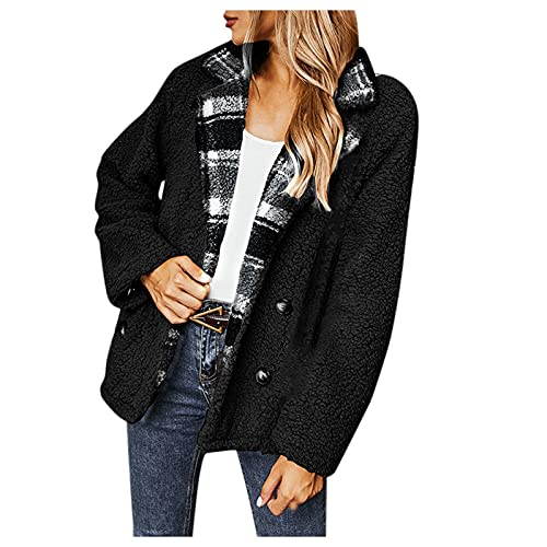 Women's Warm Faux Plush Coat Jacket Soft Plaid Stitching Lapel Coat Cardigan Outwear Tops Blouses Black