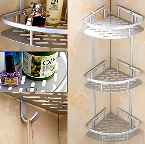Badezimmer-Eckregal / Duschregal, 3 Ebenen, Aluminium, viel Platz, mit Haken