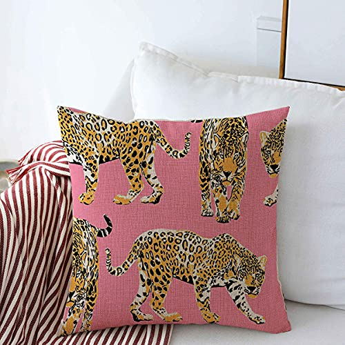 Starotor Decorative Throw Pillow Cushion Covers for Couch Pattern Different Cheetah Wild Striped Leopards Animal On Chic Animals Wildlife with Pink Textures Linen Sofa Pillows Case 18x18 Inch