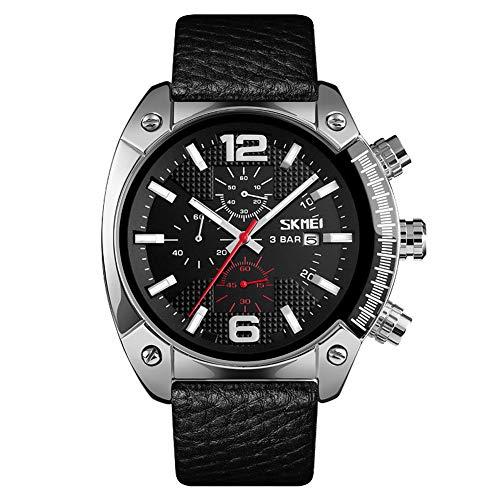 PGODYQ Orologio da uomo impermeabile da lavoro, cronografo sportivo con luminoso, braccialetto fitness smart watch, orologio al quarzo, cintura-argento