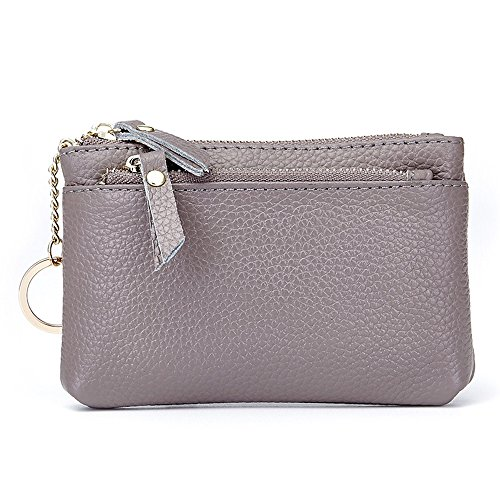 Aladin Leather Coin Purse with Key Chain – Triple Zipper Card Holder Wallet Gray