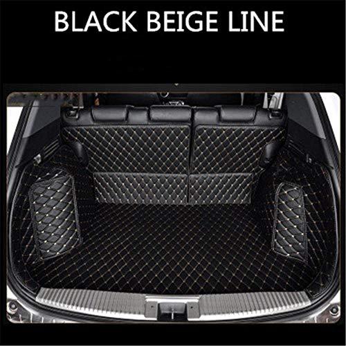 HIZH Custom Leather Auto-Kofferraum-Matten für Jeep RWrangler Sahara Grand Cherokee WK WK2 Kofferbodenmatte Tray Teppich Schlamm, volle Schwarze Beige