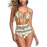 Traje de Baño Bikini Mujeres de Cintura Alta de Dos Piezas de Playa Ajustables Conjunto de Bikini Set Sling Swimwear,Amarillo,M