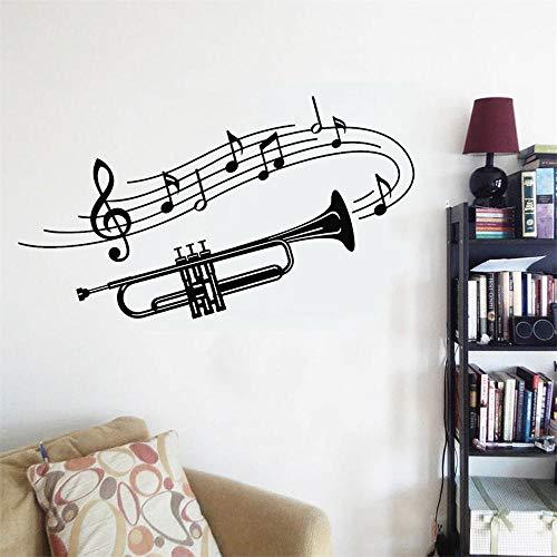 57x33cm Etiqueta engomada personalizada del nombre Pequeño instrumento musical Nota musical Etiqueta de la pared Hogar