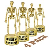 ORIENTAL CHERRY Halloween Party Supplies - Golden Best Costume Skeleton Trophies for Kids Adults Contest Awards Prizes - 4 Pack