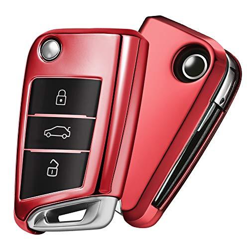 OATSBASF Autoschlüssel Hülle VW,VW Golf 7 Schlüsselbox,Schlüsselhülle Cover für vw Polo Skoda Seat 3-Tasten (Rot)[Verpackung:MEHRWEG]