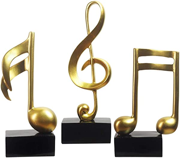 HomeBerry Musical Note Music Note Figurine Statue Sculpture Home Decor Decoration Gift Arts Crafts Hand Painted Polyreisn 19cmH Set Of 3 Gold