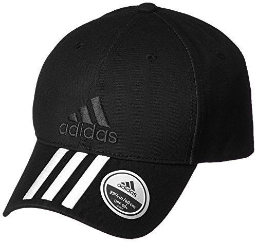 adidas Erwachsene 6 Panel Classic 3-Stripes Cotton Kappe, Black/White, OSFM