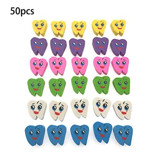 Museourstyty Radiergummi, bunte Zähne, Smiley-Gesicht, Modell Radiergummi für Kinder, 50 Stück