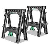 Hitachi 115445 Folding Sawhorses, Heavy Duty Stand, 4 Sawbucks, 1,200...