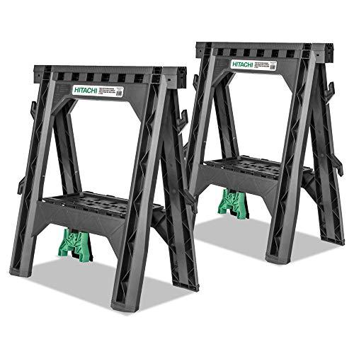 Hitachi 115445 Folding Sawhorses, Heavy Duty Stand, 4 Sawbucks,...