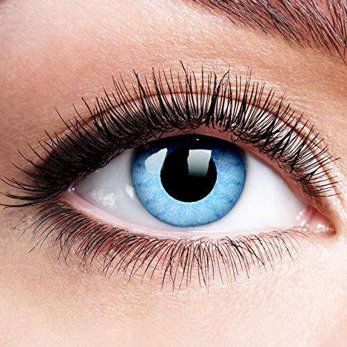 Farbige Kontaktlinsen mit Stärke Solar Blue Blau Motiv-Linsen Halloween Karneval Fasching Cosplay Anime Manga Blaue Augen Farbig Eye Devil Eis Hexe Engel Elfe - 1,5 dpt