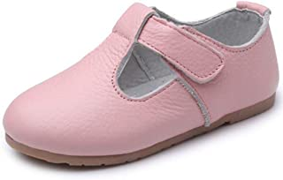 Gril's Leather T-Strap Oxford Flats Mary Jane School Uniform Shoes Princess Wedding Party Dress Shoes