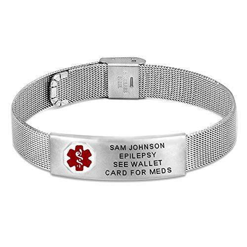 Divoti Custom Engraved Mesh Medical Alert Bracelets for Women/Men, Stainless Steel Medical Bracelet, Medical ID Bracelet Adjustable w/Free Engraving & Red Caduceus