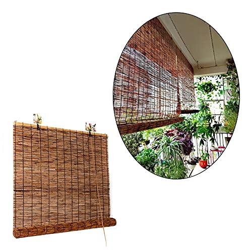 Natürliche Schilf-vorhang,retro-rollos,hebe Bambusvorhänge,schatten Aus Stroh-für Innenfenster,patio,gärten,balkone,pergola Outdoor,anpassbar,Carbonized-32 * 87in/81 * 221cm