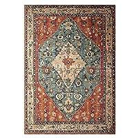 厚い模造カシミヤの床カーペット、素朴なレトロなモロッコのリビングルームの寝室のソファーコーヒーテーブルエリアラグ (Color : A, サイズ : 80cm*120cm)