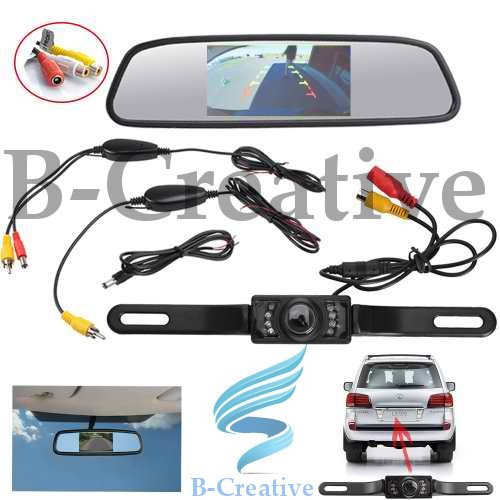 b-creative 4.3pulgadas LCD espejo monitor + 7LED IR Rover coche de vista trasera inalámbrica de marcha atrás Kit