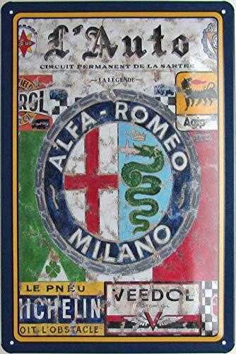 Cartel de chapa 20 x 30 cm arqueado Alfa Romeo Milano, coche