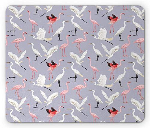 Flamingo muismat, wilde vogels, natuurvliegen op canvas van blass-klei, antislip muismat, rechthoekig