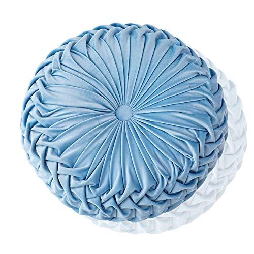 Boyigog Cojín redondo con forma de calabaza, 38 cm, de terciopelo, para decoración del hogar, sofá, cama, coche (azul cielo)