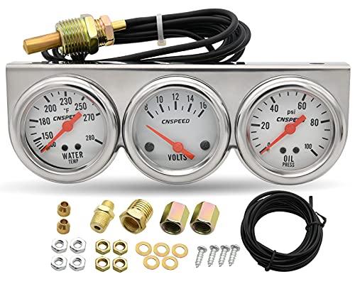 2  Volt Triple Gauge Kit, 3 in 1 Car Meter Auto Gauge(Voltmeter + Water Gauge + Oil Press Gauge),52mm Chrome Voltage Gauge Water Temp Gauge Oil Pressure Sensor Gauges Kit by KIE
