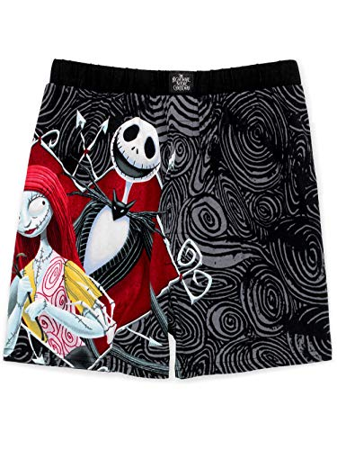 Nightmare Before Christmas Jack and Sally Men's Boxer Shorts Underwear (Large, Black)
