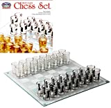 "Matty's Toy Stop Small Shot Glass Chess Set Drinking Game Set (10"" x 10"") with Plastic Shot Glasses (1.5"") and Glass Game Board - Drunken Chess"