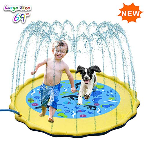 "Inflatable Splash Pad, Sprinkle and Splash Play Mat, 69"" Outdoor Backyard Sprinklers Toys for Toodler Boys Girls Dogs, Children Fountain Baby Water Playmat Splashpad with Wading Pool (Yellow)"