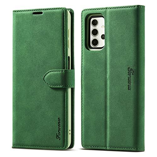 Funda protectora Funda de billetera para Samsung Galaxy A32 5G F1 Series Matte Fuerte magnetismo Horizontal Flip Funda de cuero con soporte y ranuras para tarjetas y marco de fotos ( Color : Green )