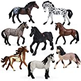 8PCS Big Horse Mare and Stallion Toy Figures, Plastic Horse Figurines, Horse Animal Toys for Girls and Boys, Horse Club Cake Topper Party Decoration