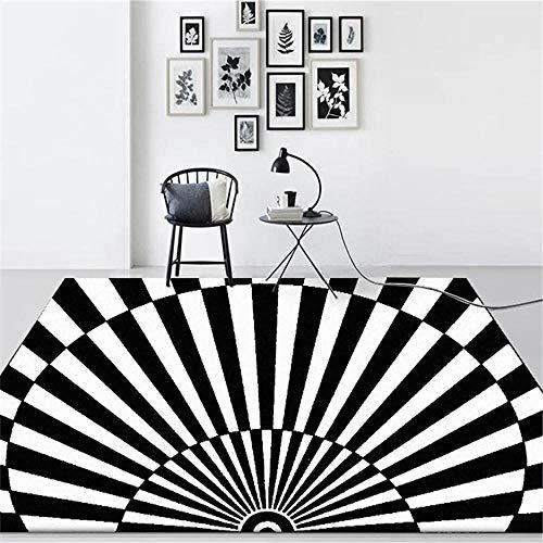 WQ-BBB Pelo Corto Compatible con calefacción Mesa De Centro La Alfombrae Decoración semicírculo ilusión óptica Alfombra Salon Grande Blanco Negro Ocio Rug 60X90cm