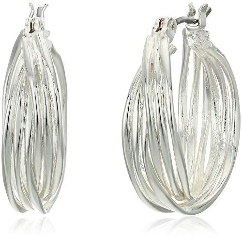 Nine West Silver-Tone Twisted Hoop Earrings