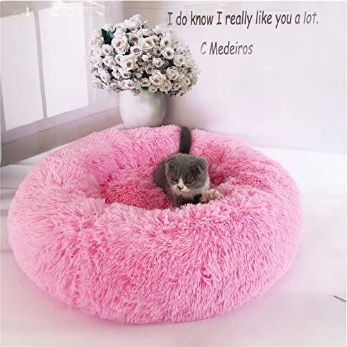 not Pet Soft Stuffed Kennel Runde Hundebetten Matten, Cotton Cat Matratze Liege Schlafbett, Kleines Mittel Atmungsaktives Kissen 50Cm (Pink)