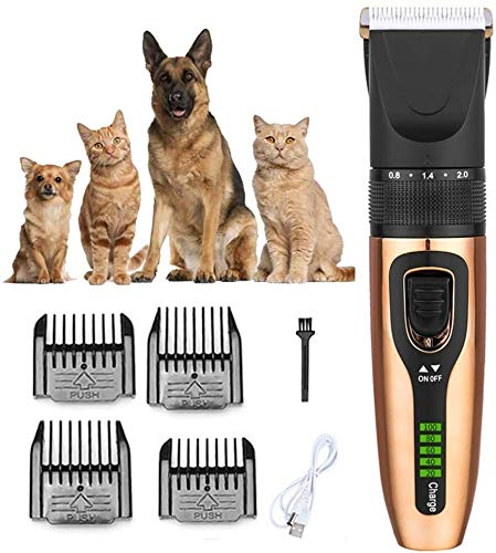 Stainless Steel Hair Clipper Dog Grooming Clippers for Pets, Cat Hair Trimmer Kit, Best Cordless Dog Clippers Low Noise, Professional Hair Clipper Set LCD digital display with 4 Comb,Red,Gold Hair Cut