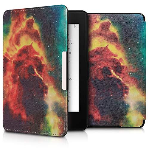kwmobile Carcasa Compatible con Amazon Kindle Paperwhite - Funda para e-Reader de Piel sintética - Naranja/Azul Oscuro/Negro
