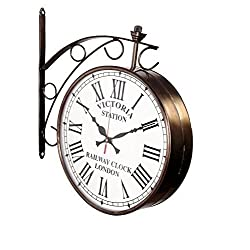 Max Engineering Enterprises Vintage Victoria Station Railway Station Clock Double Sided City Station Hanging Wall Clock- Two Faces Dual Side