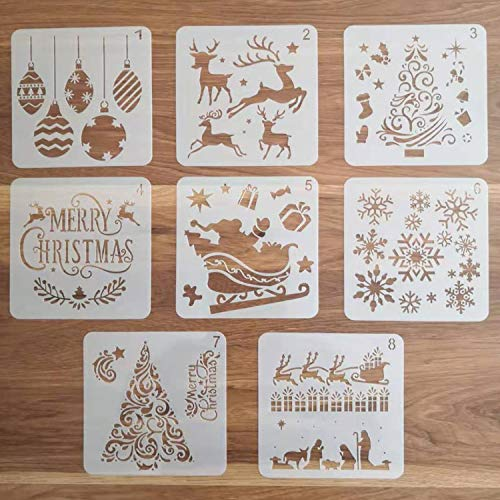 8 Pcs Christmas Stencils Template - Reusable Plastic Craft Stencils for Art Drawing Painting Spraying Window Glass Door Wood Journal Scrapbook Car Body Holiday Xmas Snowflake DIY Decoration 5x5 inch