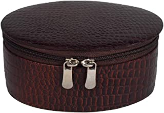 Stones Bridge Ovel Leather Jewellery Box for Women (Brown)