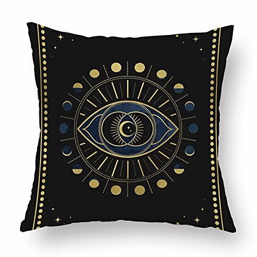NTDRB Tarot Funda de cojín de poliéster Negro Mysterious Planet Funda de Almohada Decorativa 45x45cm Decoración del hogar para Sala de Estar Sofá Sofá, 26,45x45cm