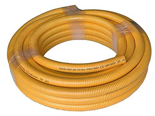 Gas-Flexschlauch Edelstahlwellrohr DN12 bis DN25 mit gelbem PVC-Mantel als Meterware - DVGW zertifiziert, Nennweite:DN20