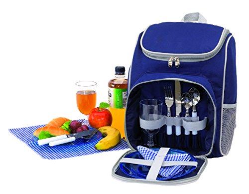 noTrash2003 Picknickrucksack Rucksack Picknicktasche Tasche Freizeitrucksack gefüllt für 2 Personen blau