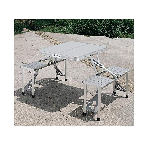 BUYT Picnic Tables Outdoor Folding Table and Chair Aluminum Alloy Portable Piece Table Simple Dining Table with Umbrella Hole
