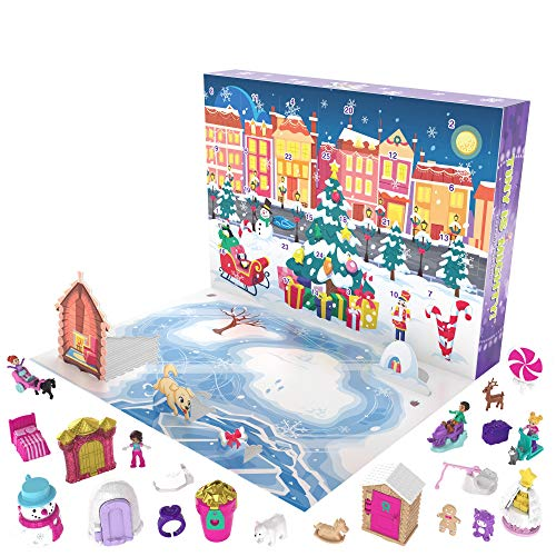 Polly Pocket Advent Calendar Featuring a Winter Wonderland Holiday Theme & 25 Surprises to Discover. for Ages 4 Years Old & Up