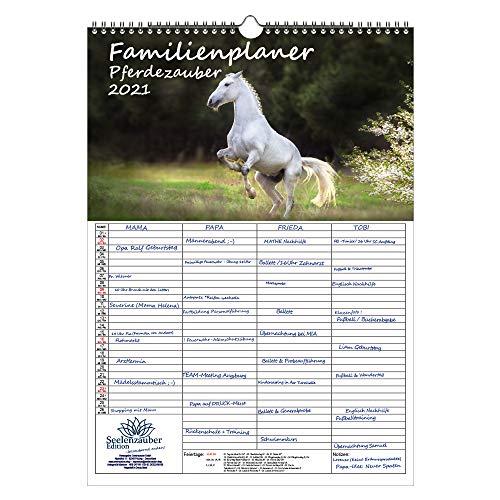 Familienplaner - Pferdezauber DIN A3 Kalender für 2021 Pferde und Fohlen Geschenk-Set: Zusätzlich 1 Gruß- und 1 Weihnachtskarte - Seelenzauber
