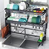 Over The Sink Dish Drying Rack, Adjustable (22.8in≤Sink Size≤36.6 in) 2 Tier...