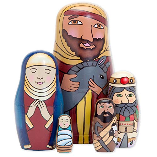 Bits and Pieces - 5pc Nesting Doll Holy Family -The Nativity Family Hand Painted Hand Made Wooden Nesting Dolls Matryoshka Nativity Figurines - Set of 5 Dolls from 5.5