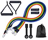 11 Pack Resistance Bands Set Workout Bands, Exercise Tube Bands with Door Anchor Cushioned Foam Handles Leg Carry Bag Ankle Straps for Men Strength Training, Elastic Bands for Gym, Yoga, Pilates